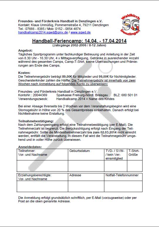 Handball Feriencamp2