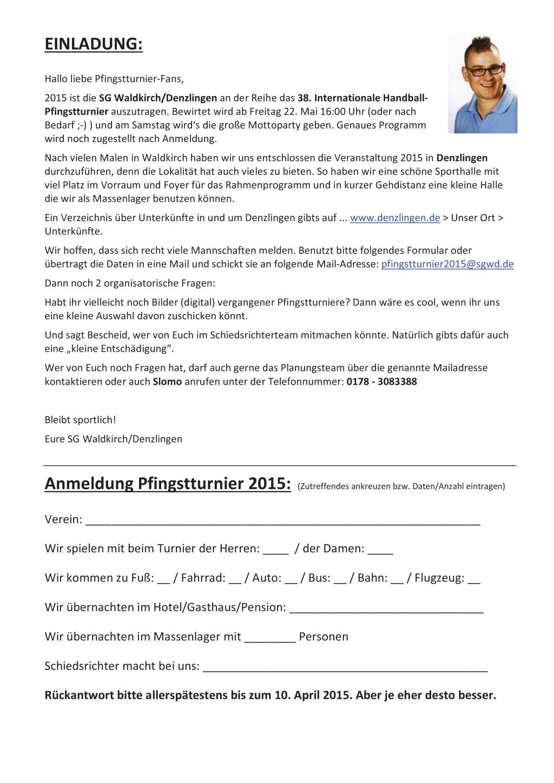 Einladung Pfingstturnier 2015 bei der SG Waldkirch-Denzlingen 2