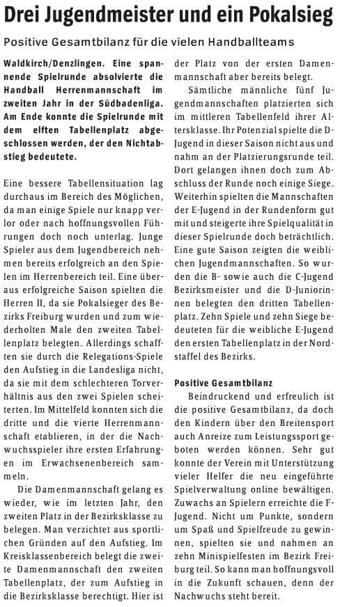 VHzH 2016-06-16 - Handball - SG Waldkirch-Denzlingen Saisonbilanz